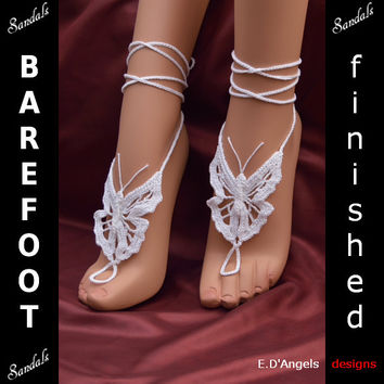 Barefoot sandals | wedding shoes | BUTTERFLY White