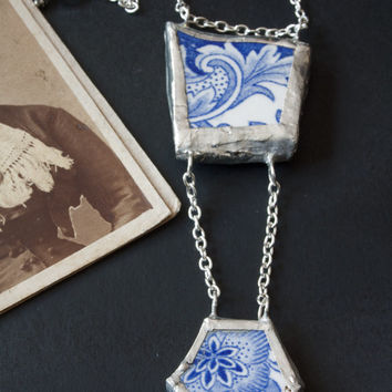 OOAK Broken china jewelry. Broken china necklace. Vintage necklace jewelry. Blue and white flowers. Soldered necklace jewelry