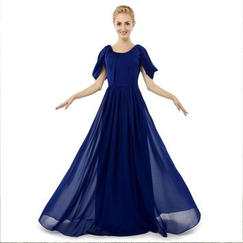 Chiffon A Line Cap Sleeves Open Back Long Evening Dress Evening Dress