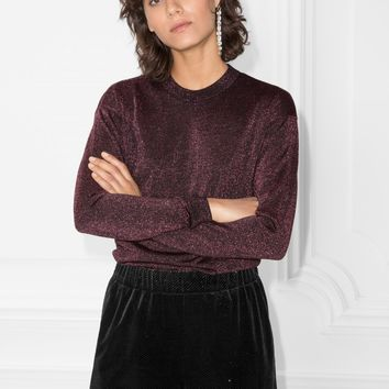 & Other Stories | Sparkling Merino Wool Sweater | Burgundy