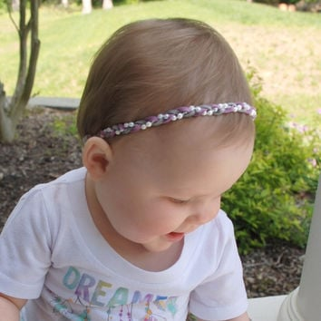 Rad Braided Purple Gray White Suede Headband with Pearls