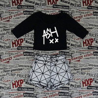 ASH Black Crop Top Ladies 3/4 Long Sleeve Stretch T Shirt Tee
