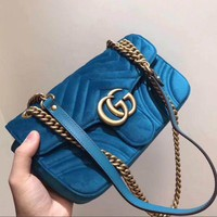 DCCKB62 GUCCI Marmont Women Shopping Leather Metal Chain Crossbody Satchel Shoulder Bag Velvet