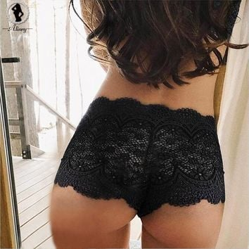 ALINRY 2018 New plus size sexy panties 2 colors floral lace transparent panties underwear women hollow out breathable briefs