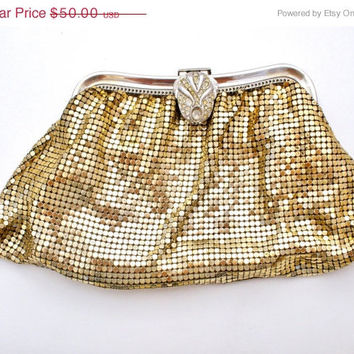36% Off Sale Mesh Evening Bag Whiting & Davis Clutch Purse Gold Mesh Vintage