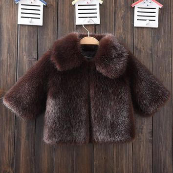 Brand New 2018 Black Fur Coats for a boy Turn-down Collar Kids Faux Fox Fur Jackets Toddler Winter Clothes Minks Fur Jacket Grey