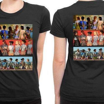 Pink Floyd Art All Of Allbums In Back 2 Sided Womens T Shirt