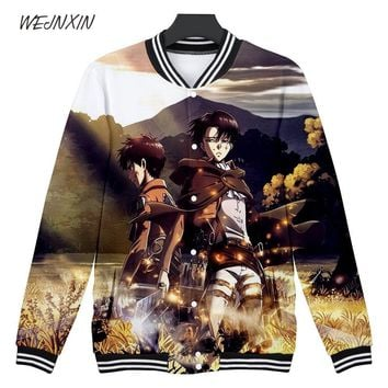 Cool Attack on Titan WEJNXIN  3D Hoodies Club Wear Sweatshirts Men Women V-Neck Baseball Uniform Fleece Streetwear 3D Print Clothes AT_90_11