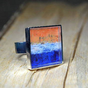 Orange Blue Art Resin Ring handmade Unique Gifts for her Square Abstract Resin Jewelry Wearable Art Original adjustable ring