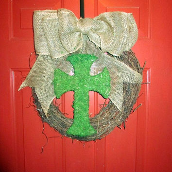 Moss Cross- Easter - Grapevine Wreath - Spring/Summer Wreath - Custom - Burlap Bow