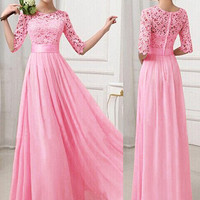 Half Sleeves Lace Slim Fit Women's Prom Dress