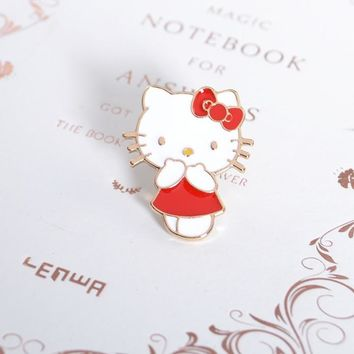 Free Shipping New Cartoon Cute Metal Enamel Cat Kitty Brooch Pin Fashion Clothing Bag Hat Badge Brooches jewelry For Women