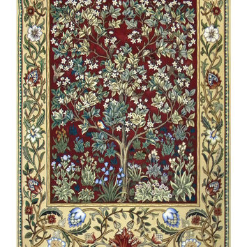 Tree of Life in Red Tapestry Wall Art Hanging