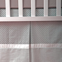 Custom Crib Skirt / Dust Ruffle fully lined with Gray and White polka dot and Stripes