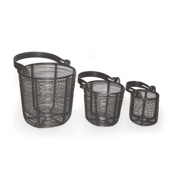 Go Home Set of Three Wire Baskets With Flat Handle - 9342