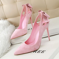 New Summer Women Pumps Sweet Cute Bow Thin High Heels Shoes Suede High-heeled Pointed Hollow Sandals Elegant Stiletto G3168-1