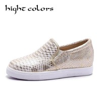 New 2017 Hight Colors Brand Women Snakeskin Loafers Flats Shoes Woman Casual Slip on Platform Shoes Ladies Creepers Size 34-43