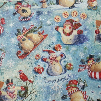 Snowman Fabric Christmas Fabric Holiday Fabric Snowmen Snow Fabric Glitter Fabric Quilting Fabric Craft Fabric Curtain Fabric