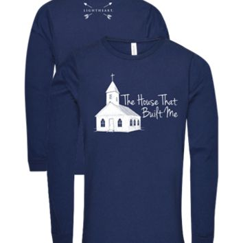 Southern Couture Lightheart House That Built Me Church Triblend Front Print Long Sleeve T-Shirt