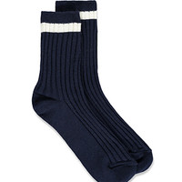 Striped Rib Knit Socks