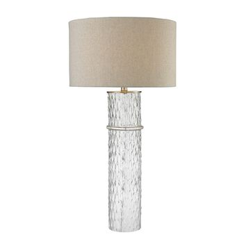 D2653 Two Tier Glass Table Lamp With Grey Linen Shade