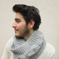 Men Infinity Scarf, Unisex, Neckwarmer, Timeless, Gray, Silver Grey, Cable pattern, Modish, Guy, Pure and Soft Wool, Eco friendly, Cozzy