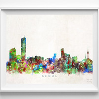 Seoul Skyline Print, South Korea Print, Seoul Poster, Korea Cityscape, Watercolor Painting, Wall Decor, Dorm Decor, Christmas Gift