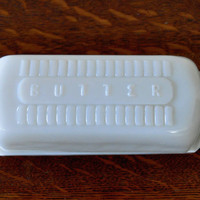Vintage Milk Glass Butter Dish, Raised Lettering, Covered Butter Dish