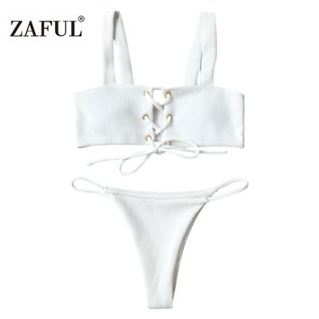 New Women Lace Up Ribbed Texture Bikini Low Waist Wire Free Solid Color Straps Beach Bathing Suits