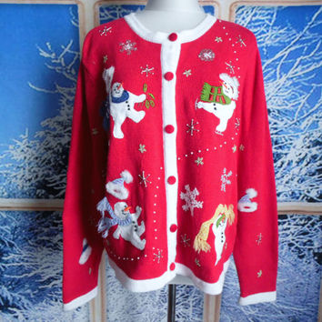 Ugly Christmas Sweater, Jumper, Cardigan, Skating SNOWMEN, Beads, Holly, Fuzzy Hats, Scarves, BONUS Snowman on Back, Tacky, Best Fit XL!