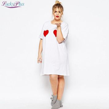 PEAPGB2 5XL 6XL plus size women tee shirts 2016 fashion new summer style loose casual long top t shirts hearts print clothing for women