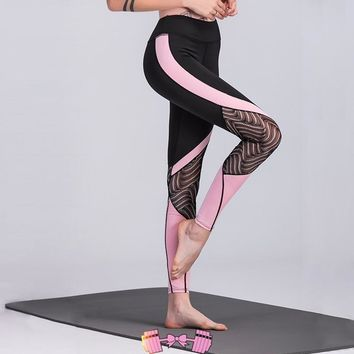 Pink and Black Patchwork Lace Design Workout Leggings