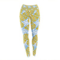 "Nandita Singh ""Blue and Yellow Flowers Alternate"" Gold Floral Yoga Leggings"
