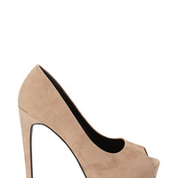 FOREVER 21 Faux Suede Peep-Toe Pumps