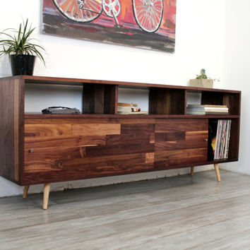 Walnut Console TV Stand Media Console Wood Furniture Console Tab