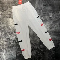 NIKE Women Men Side More Logo Hook Long Pants Leisure Trouser B-MG-FSSH White
