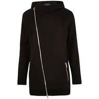 River Island MensBlack asymmetric zip longer length hoodie