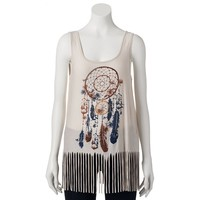 About A Girl Dream Catcher Fringe Tank - Juniors, Size: