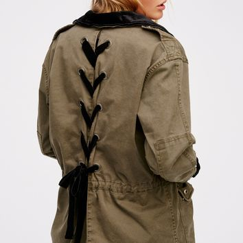 Free People Velvet Lace Up Army Jacket