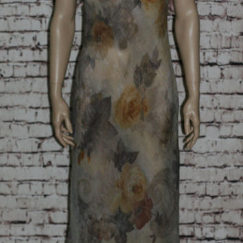 90s Sheer Maxi Dress Bodycon Floral Floral S Olive Green Brown Beige Earthy Tones Grunge Pastel Goth Cyber Hipster Crinkle Rayon Boho Witchy