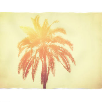 Golden Palm - Fleece Blanket, Tropical Palm Tree Surf Accent Throw, Yellow Orange Red Ombre Style Coral Fleece. In 30x40 50x60 60x80 Inches