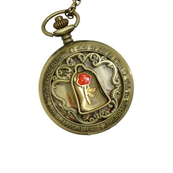 Disney Beauty And The Beast Enchanted Rose Pocket Watch Necklace