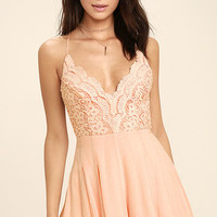 Star Spangled Blush Pink Backless Lace Romper