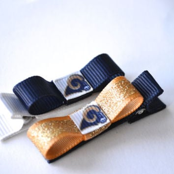St. Louis Rams Hair Clips - Toddler Hair Clips - St. Louis Rams Bows - St. Louis Rams Stocking Stuffer