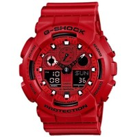 Casio GA100C-4A Men's G-Shock Red Ana-Digi Dial Red Resin Strap Alarm Dive Watch
