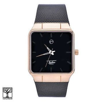Jewelry Kay style Men's Women's Fashion Black Plated Square Metal Mesh Band Watches WM 8178 RGBK