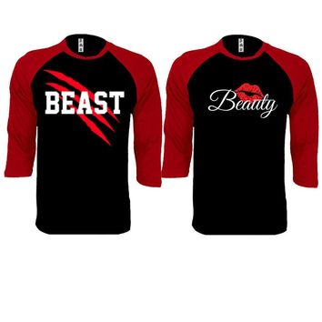 New Beast and Beauty Couple Black / Red Baseball T-shirt