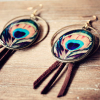 Bohemian Peacock earrings with tassle - Summer Jewelry