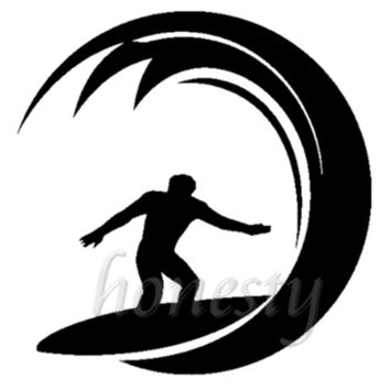Surfing Surfer Water Waves Wall Home Glass Window Door Car Sticker Auto Truck Laptop Black Vinyl Decal Sticker Decor Gift