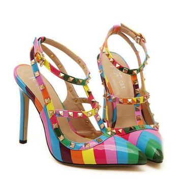 Kalete Fashion women High heels with rainbow pointed toe rivet sandals shoes
